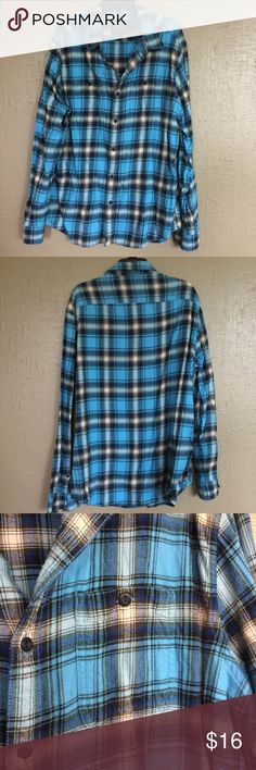 American Eagle AEO Men's Flannel Shirt Size XL American Eagle AEO Men's Prep fit Size XL Flannel Shirt in Turquoise blue. Worn once. American Eagle Outfitters Shirts Casual Button Down Shirts