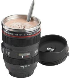Camera Lens Travel Coffee Mug Camera Lens Coffee Mug — Just the Right Aperture Cool Gifts, Unique Gifts, Coffee Cups, Tea Cups, Coffee Art, Coffee Tumbler, Cool Inventions, Gadget Gifts, Cute Mugs
