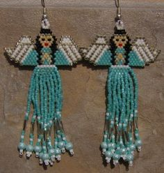 Native Amereican Inspired Angel Earrings Hand Made Seed Beaded Beaded Earrings Patterns, Seed Bead Patterns, Jewelry Patterns, Beading Patterns, Seed Bead Jewelry, Seed Bead Earrings, Beaded Jewelry, Handmade Jewellery, Seed Beads