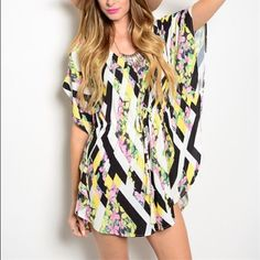 THE DARLING Multicolor Romper💙 This cool romper features mixed multicolor print all over, scooped neckline and batwing sleeves. 93%POLYESTER 7% SPANDEX Other