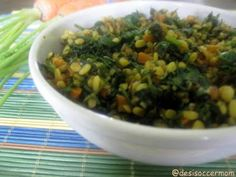 Desi Soccer Mom: Carrot greens with moong dal
