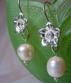 Sterling Silver & Freshwater Pearl Earrings by Passionflower Jewellery Designs