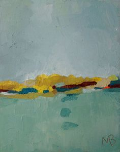 """Original Abstract Landscape Painting, Oil On Canvas """"Sunlit Island"""" by Michael Broad"""