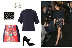 Emma Watson: Regression - C MPL T UNKN WN wasp clutch, $650; ahalife.com; Judy Geib opal, gold, and silver sun and moon drop earrings, $4,150; barneys.com; Toga Archives raw-edge crepe top, $185; matchesfashion.com; Sergio Rossi Dali pumps, $348; sergiorossi.com; Mary Katrantzou Kalion skirt, $556; farfetch.com