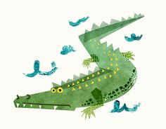 Lazy crocodile illustration for wine labels - Leanne Bock. Australian / art / design / animals.