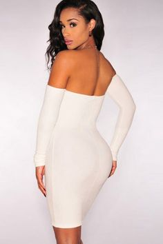 5834a9b521 White Off Shoulder Long Sleeve Bodycon Dress