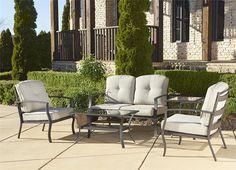 Amazon.com : Cosco Outdoor 5 Piece Serene Ridge Aluminum Patio Furniture Conversation Set with Cushions and Coffee Table, Dark Brown : Patio, Lawn & Garden    $591