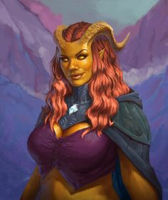 f Tiefling Sorcerer Robes Cloak Necklace portrait female Hills Mountain valley Conifer forest farmland Tower river ArtStation Sophia by Adam Barker med Fantasy Demon, Fantasy Races, High Fantasy, Fantasy Girl, Dungeons And Dragons Characters, Dnd Characters, Fantasy Characters, Fantasy Figures, Fantasy Character Design