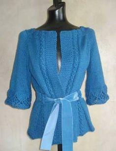 Mavi bayan hırka modelleri