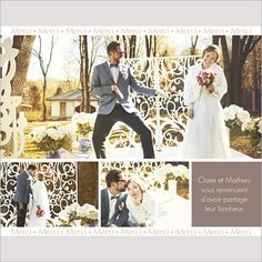 carte de remerciements de mariage frise de merci personnaliser sur http - Texte Remerciement Mariage Personne Absente