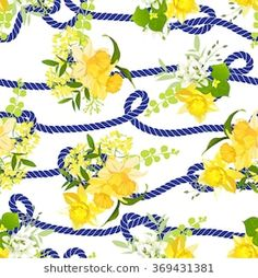 Twisted blue marine rope and yellow spring bouquets of narcissus, wildflowers and herbs  seamless vector print