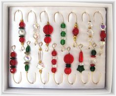 Love these unique gift for family or friends - beaded christmas ornament hangers $14