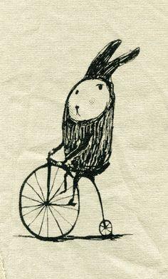 Hase auf dem Fahrrad