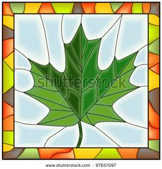Vector of maple leaf from tree in stained glass window. by Vertyr, via Shutterstock