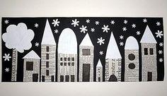 Houses, collage with newspaper, street view at night, crafts with c … - Winter Art Winter Art Projects, Winter Crafts For Kids, School Art Projects, Art For Kids, Winter Diy, Arte Elemental, Classe D'art, Newspaper Art, Kindergarten Art