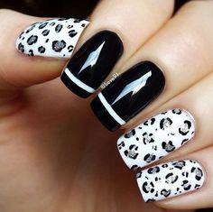 Uñas en blanco y negro decoradas con diseños de estampado de leopardo y rayas - Uñas Pasión