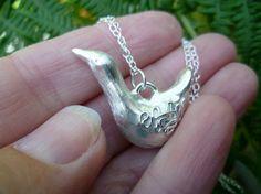 Fine silver goose 3D sculpture pendant. by SilverWrenandOak