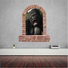 King Kong brick window wall sticker and decals. Wall Stickers, Decals, Window Wall, King Kong, Brick, Lion Sculpture, Windows, Statue, Home Decor