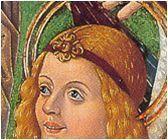 Band with ornament   Imposicion de la casulla a San Ildefonso (detail). Maestro de Osma, c. 1500. Soria.