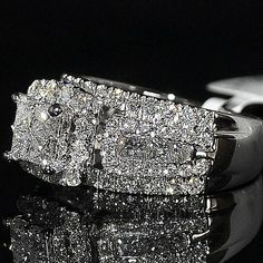 2ct Wedding Ring Princess Cut Diamond 3 in 1 style Cathedral side 10mm Big 14KWG $2515