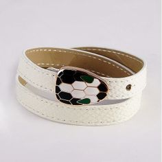 Double Coiled Bracelet In Pure White Calf Leather,Pink Gold Plated Snake Head Design