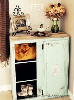This was an old, beat up kitchen cabinet, now a shabby chic entry cabinet