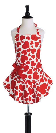 New Valentineu0027s Cotton Kitchen Chef Bib Apron ~ Red With Sparkly Golden  Metallic Hearts #Handcrafted #ohsewcute | Valentineu0027s Aprons And More!
