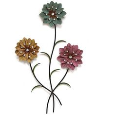 Stratton Home Decor Whimsical 3 Stem Flowers Metal Wall 55 Liked On Polyvore Featuring Art Yellow