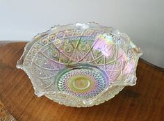 Smith Carnival Glass Bowl, Iridescent Glass Bowl by Collectitorium on Etsy Hand Molding, Glass Company, Carnival Glass, Star Patterns, Antique Glass, Makers Mark, Colored Glass, Iridescent, Decorative Bowls
