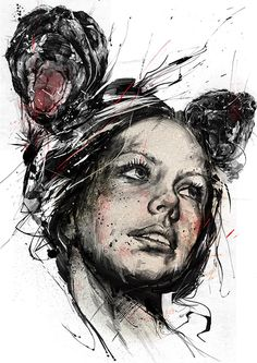 Artist: Russ Mills {contemporary #expressionist illustrator beautiful female head abstract woman face portrait mixed-media grunge painting #noveltechnique #loveart}