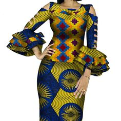 African Print Ruffles Sleeve Tops and Skirt Sets Knee-length clothing – DRESS THE LADIES African Maxi Dresses, African Dresses For Women, African Attire, Couples African Outfits, 2 Piece Skirt Set, Ruffle Sleeve, Classy Outfits, Traditional Outfits, Skirt Fashion