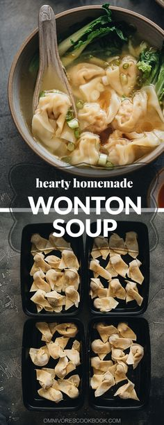 Wonton soup - easy pork and shrimp wontons served in a hearty chicken soup. An authentic Chinese street vendor soup base is also included in the recipe! #chinese #dimsum #dumplings