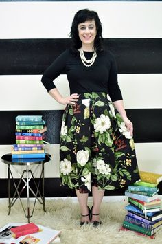 Black Floral Midi Skirt Mini Skirt or Maxi Ball by SandeeRoyalty