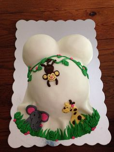 Jungle Themed Belly Baby Shower Cake