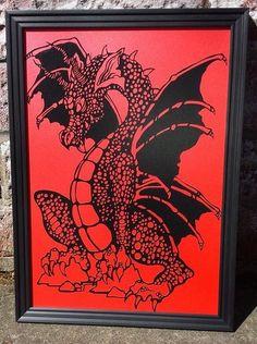 Dragon.. .papercutting modèle pour par TheButtonboxFairies sur Etsy