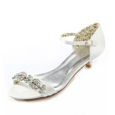 Women's Satin Kitten Heel Sandals With Rhinestone