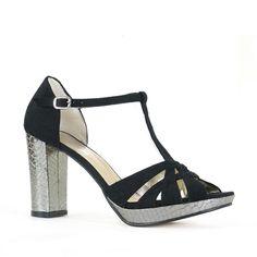 Vegan shoes high heels platform Josie pewter faux snakeskin & black faux suede