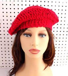 Crochet Hat Womens Hat Womens Crochet Hat Summer Hat for Women Crochet Beanie Hat ANDREA Beret Hat Red Hat in Cotton Crochet Hat by strawberrycouture by #strawberrycouture on #Etsy
