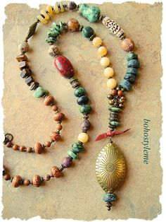 Bohemian Necklace Long Tribal Chunky Stone Necklace Rustic