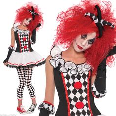Women s Harlequin Honey Jester Clown Halloween Fancy Dress Costume + Tights