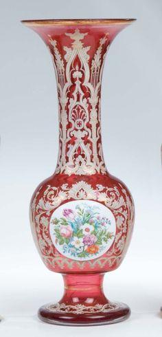 264: Vase Josephinenhuette Glass Flowers Antique Vintag : Lot 264