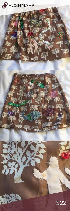 """🎉HP🎉 Cynthia Rowley silk Adam and Eve skirt, 6 Unique silk skirt by Cynthia Rowley. Brown silk with a tree pattern is embellished with ribbon, bead, cloth and sequin details that I believer were hand sewn. Light stain on fabric that is not noticeable when wearing pictured. Front and back have the embellishments. Very interesting, I'm not quite sure how the fish on the back play into it? Waist 29"""", length 20.5"""", fully lined. 100% silk, dry clean only. Cynthia Rowley Skirts"""