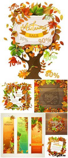 Привет осень, векторные фоны. Hello autumn, vector backgrounds