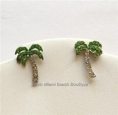 Silver Crystal Palm Tree Earrings Pierced Tropical Island Beach Green USA Seller #FRESHCollection #Stick
