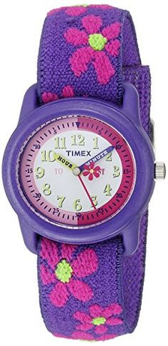 awesome Timex Kids T89022 Time Teacher Purple/Pink Flowers Resin Watch Elastic Fabric Strap