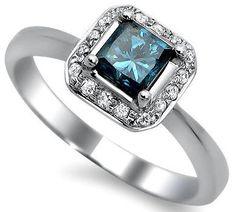Princess Cut Blue Diamond Engagement Ring 14k White Gold