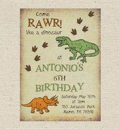 Dinosaur Birthday Invitation Printable by GigglesandGraceDesigns
