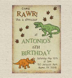 Turning 3 Birthday Dinosaur Party Invitations Birthday Invitations