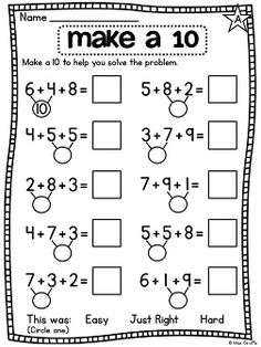 First Grade Math Unit 12 Adding 3 Numbers Adding 3 numbers worksheets and centers - great for practicing 3 addends Math Classroom, Kindergarten Math, Teaching Math, First Grade Math Worksheets, Second Grade Math, 1st Grade Math Problems, Eureka Math, Singapore Math, Math Addition