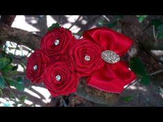 Tiara com rosas de fita | DIY - PAP - YouTube